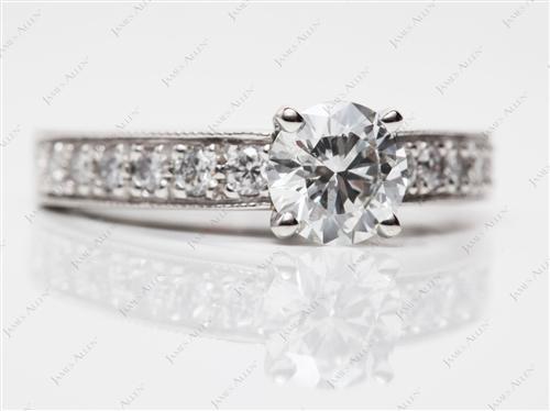 Platinum  Engagement Ring Micro Pave