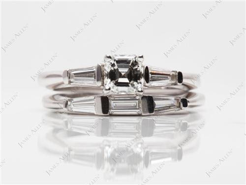 White Gold  Bridal Set Wedding Rings