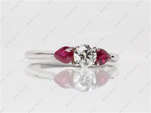 White Gold  Gemstone Engagement Ring