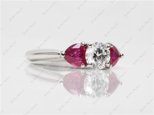 Platinum  Gemstone Engagement Ring