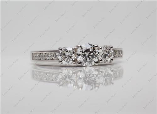 White Gold  Three Stones Ring