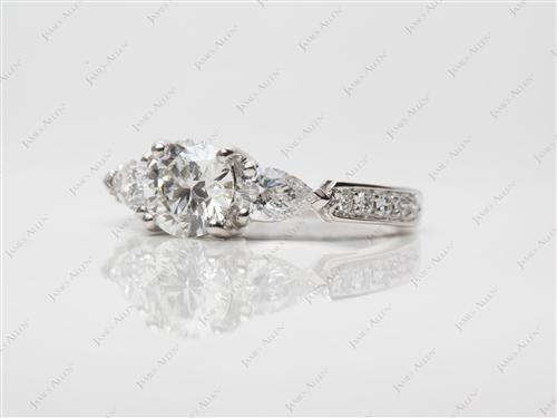 Platinum  Three Stones Rings