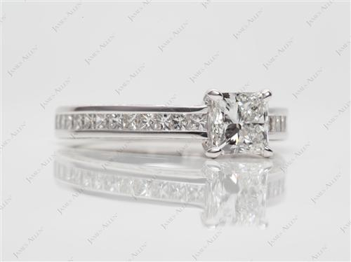 White Gold  Channel Engagement Rings