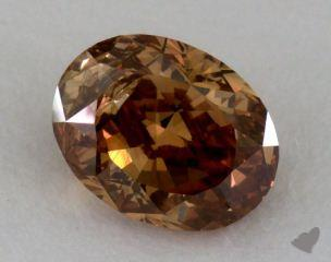 oval1.04 Carat fancy dark orange brown
