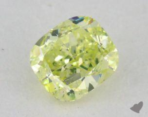 cushion0.40 Carat fancy intense greenish yellow
