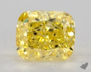 cushion0.76 Carat fancy vivid yellowVS1