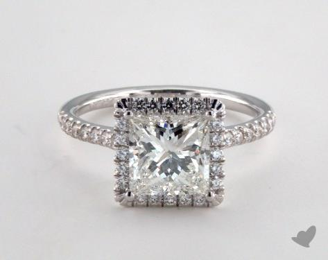 18K White Gold  Halo Engagement Ring