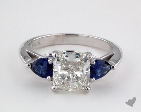 14K White Gold  Three Stone Engagement Ring