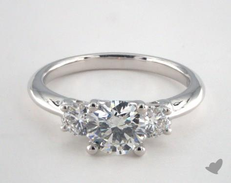 14K White Gold  Three Stone Engagement Ring