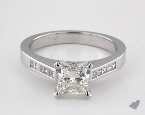 14K White Gold  Channel Set Engagement Ring