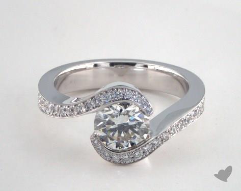 14K White Gold  Tension Engagement Ring